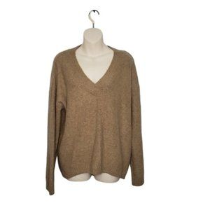 H&M brown oversized v-neck pullover sweater small
